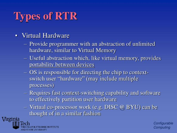 Types of RTR