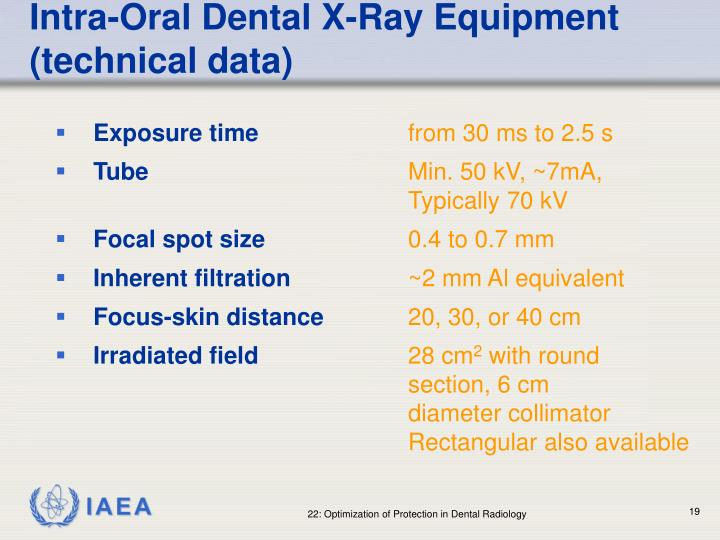 Intra-Oral Dental X-Ray Equipment (technical data)