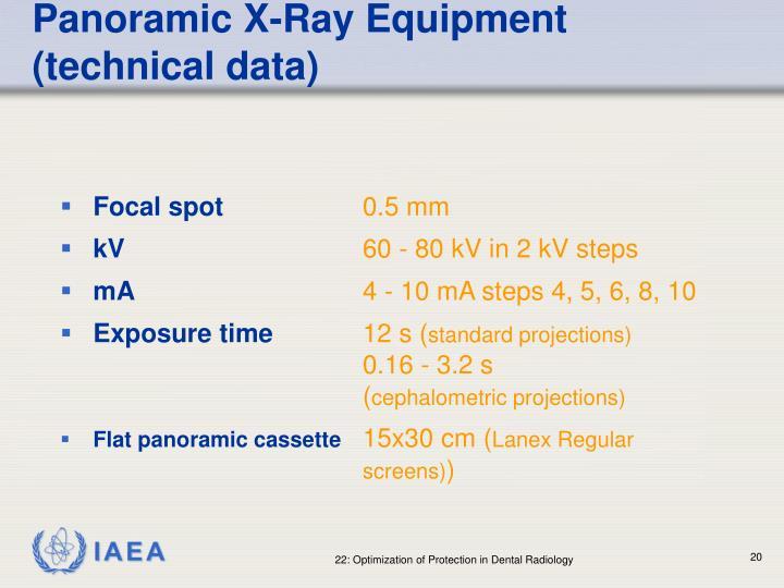 Panoramic X-Ray Equipment (technical data)