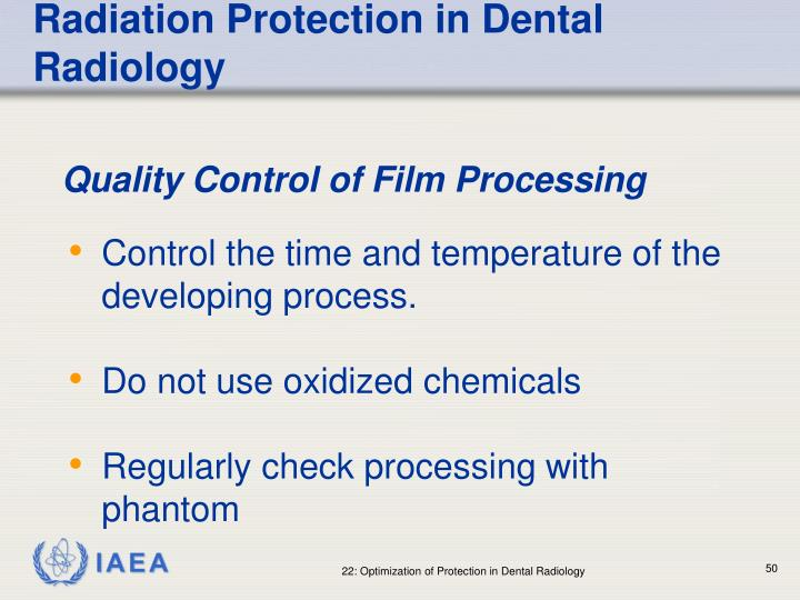 Radiation Protection in Dental Radiology