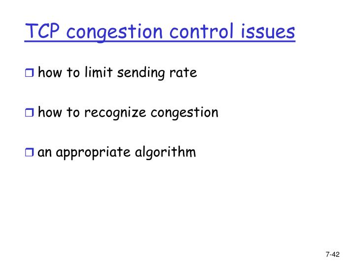 TCP congestion control issues