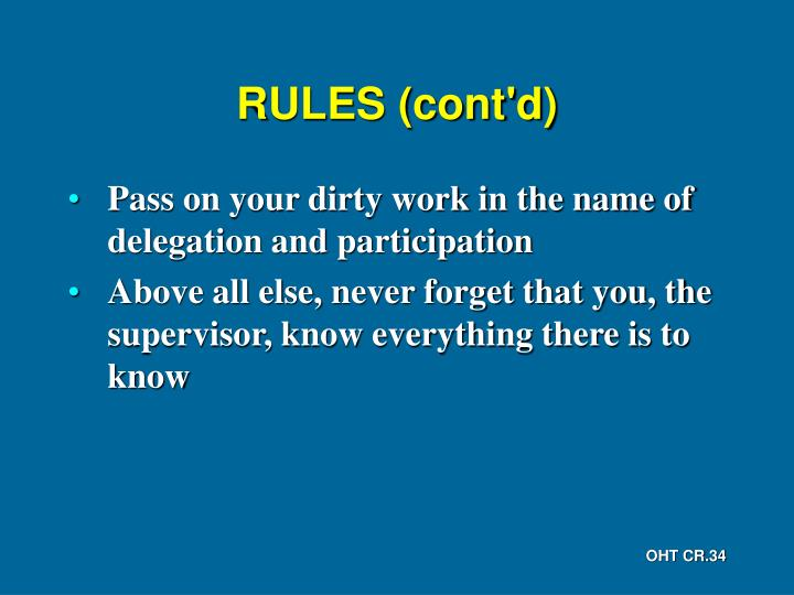 RULES (cont'd)