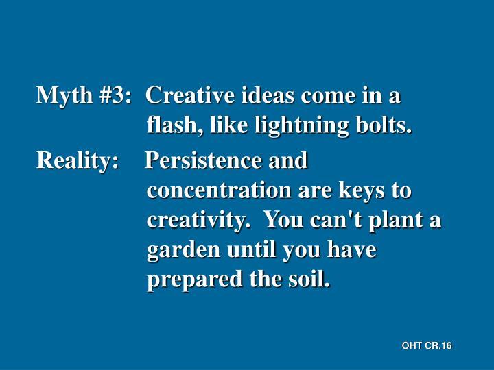 Myth #3:  Creative ideas come in a flash, like lightning bolts.