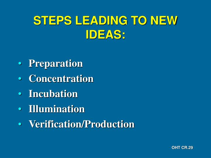 STEPS LEADING TO NEW IDEAS: