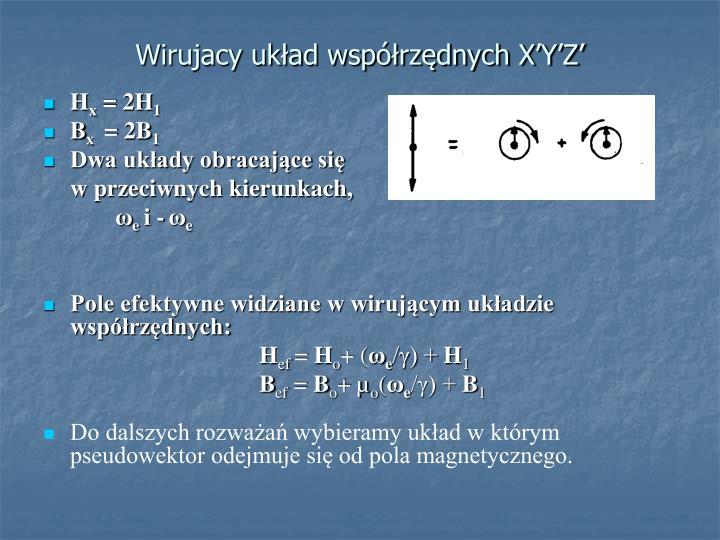 Wirujacy układ współrzędnych X'Y'Z'
