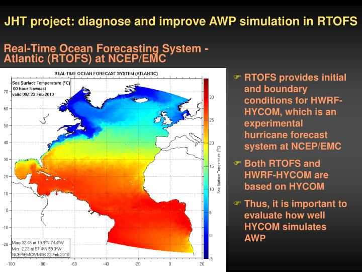 JHT project: diagnose and improve AWP simulation in RTOFS