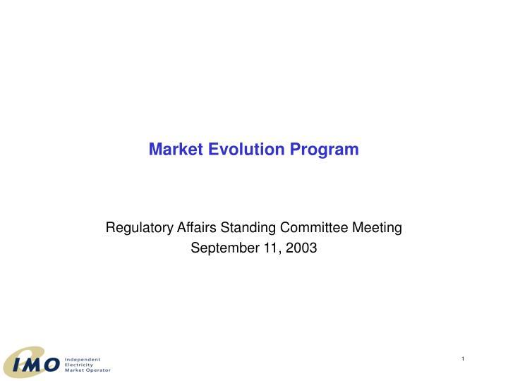 market evolution program n.
