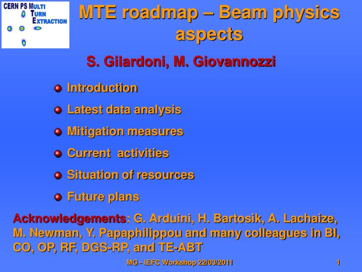 mte roadmap beam physics aspects