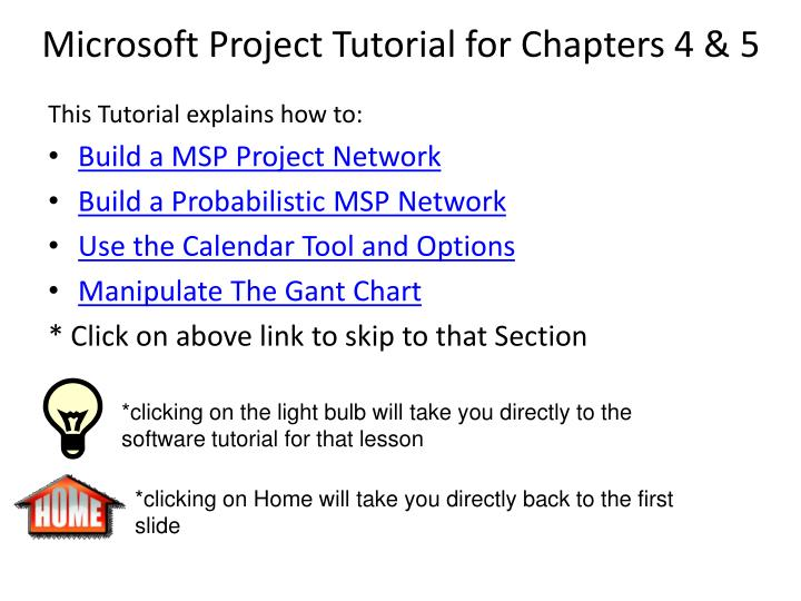 Ppt Microsoft Project Tutorial For Chapters 4 5 Powerpoint Presentation Id 3423894