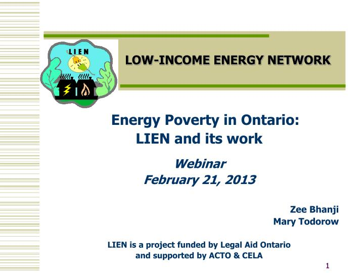 Low income energy network