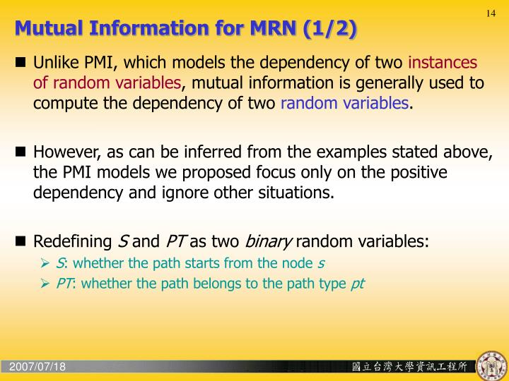 Mutual Information for MRN (1/2)