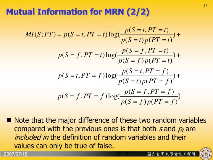 Mutual Information for MRN (2/2)