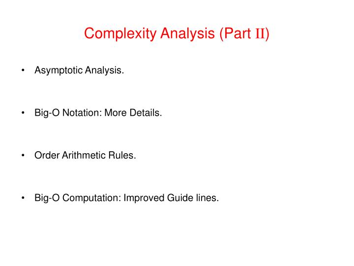 complexity analysis part ii n.