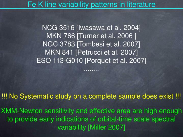 Fe K line variability patterns in literature
