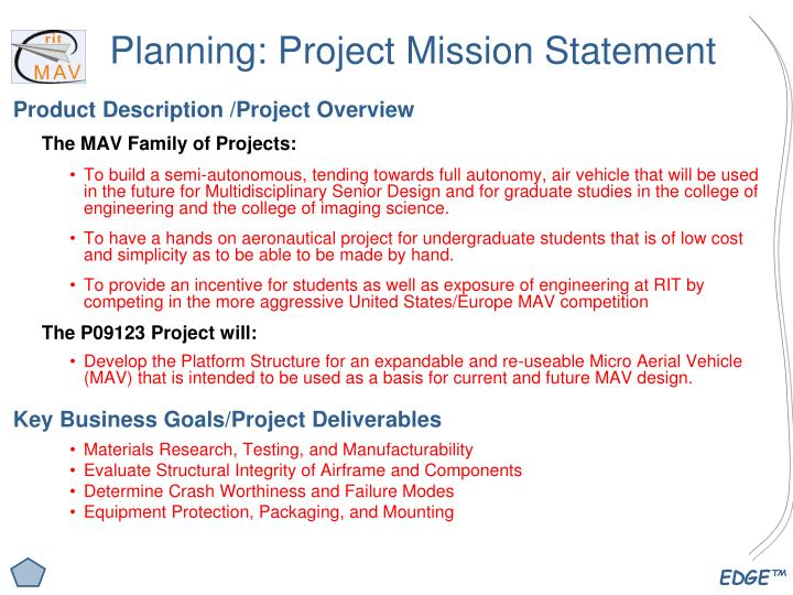 Planning project mission statement