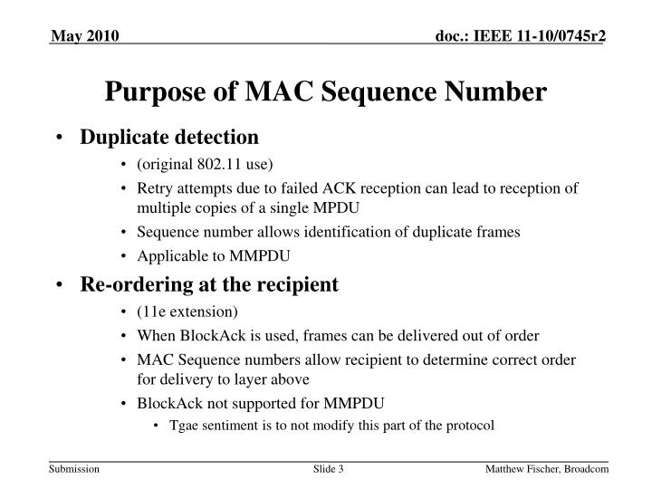 Purpose of mac sequence number