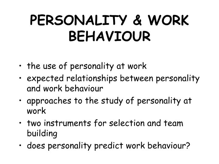 personality and work behavior The relationship between workplace anti-social behavior (asb) and higher-order personality traits was investigated using a sample of 267 korean employees workplace asb was conceptualized as having two dimensions: asb directed against individuals (asbi) and asb directed against the organization (asbo.
