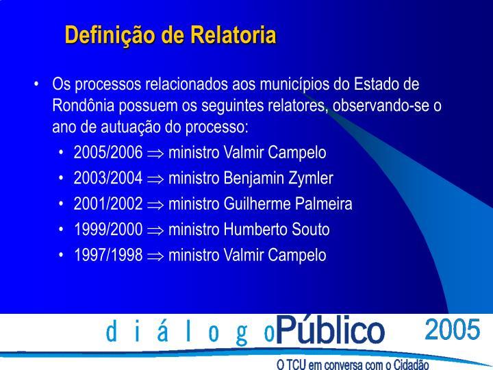 Os processos relacionados aos municípios do Estado de Rondônia possuem os seguintes relatores, observando-se o ano de autuação do processo: