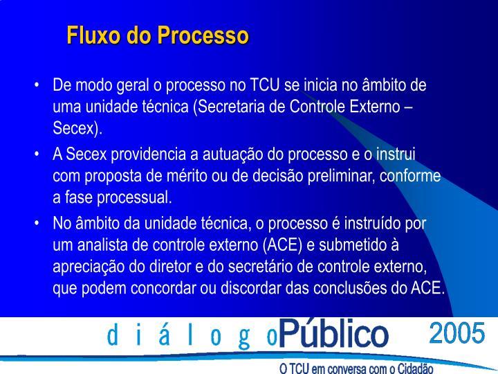 De modo geral o processo no TCU se inicia no âmbito de uma unidade técnica (Secretaria de Controle Externo – Secex).