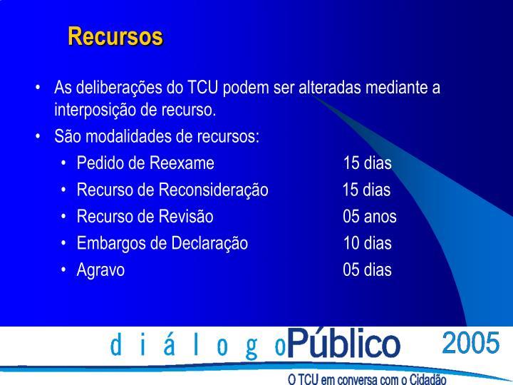 As deliberações do TCU podem ser alteradas mediante a interposição de recurso.