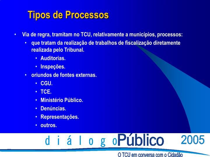 Via de regra, tramitam no TCU, relativamente a municípios, processos: