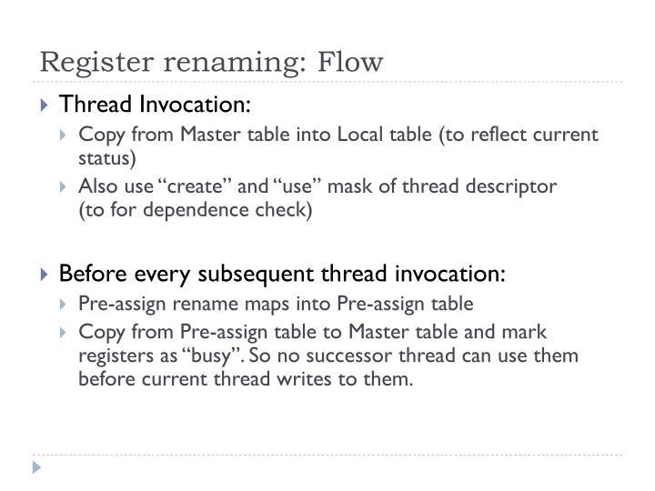 Register renaming: Flow