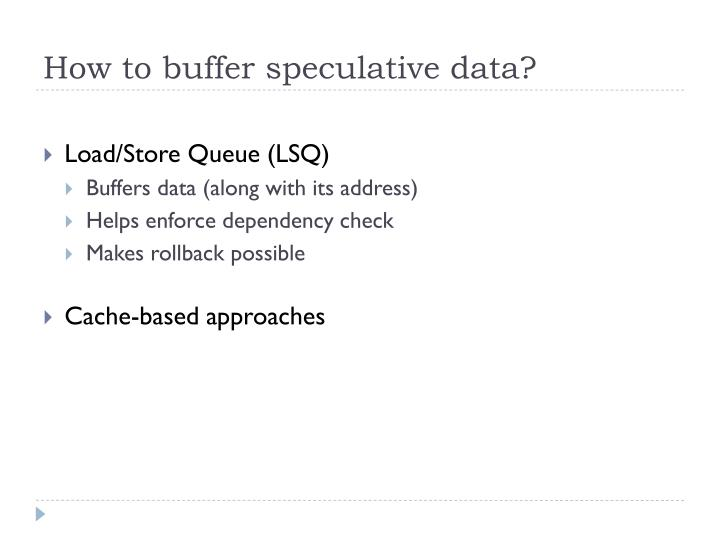 How to buffer speculative data?