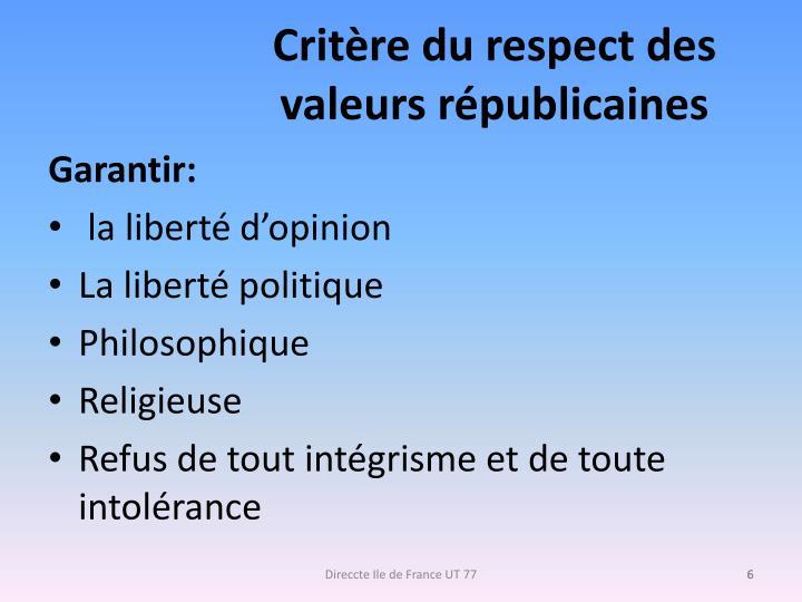 Critère du respect des valeurs républicaines