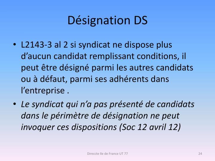 Désignation DS