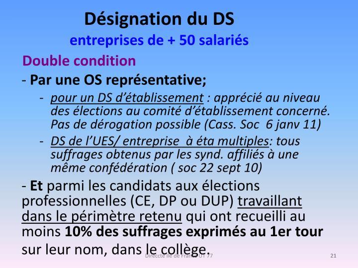 Désignation du DS