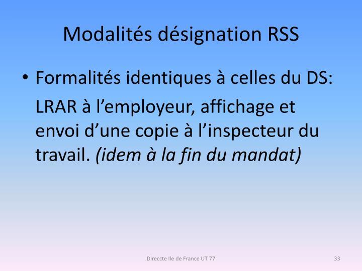 Modalités désignation RSS