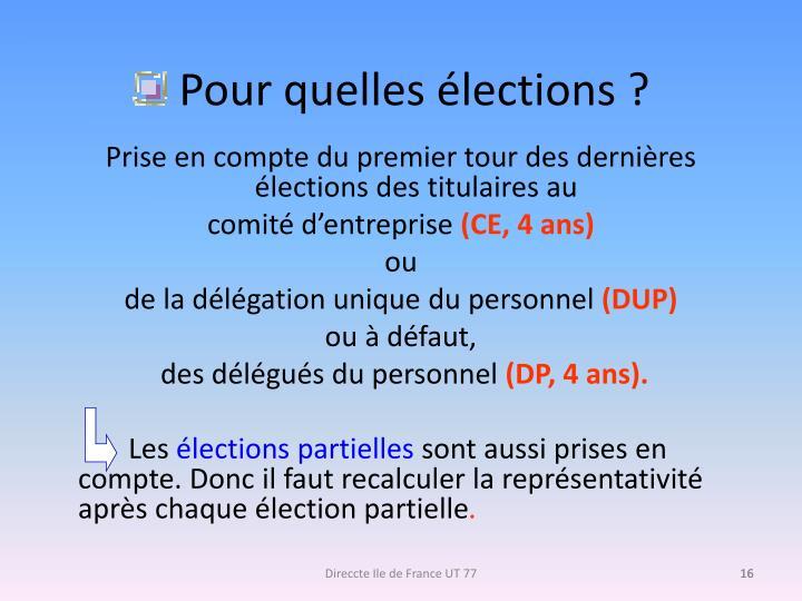 Pour quelles élections ?