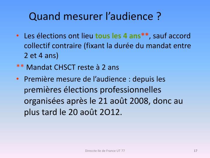 Quand mesurer l'audience ?
