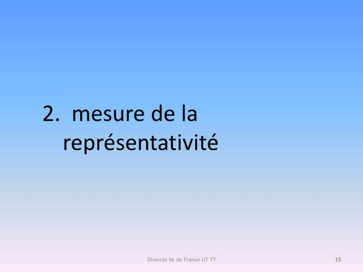 2.  mesure de la représentativité