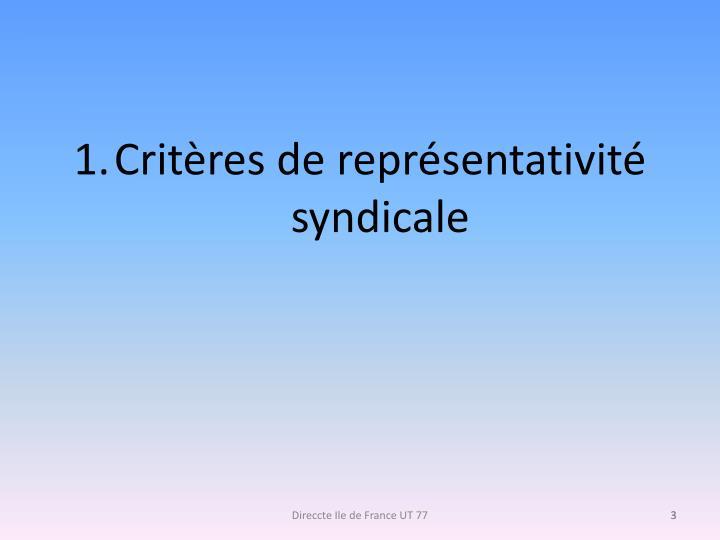 Critères de représentativité syndicale