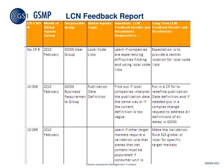 LCN Feedback Report
