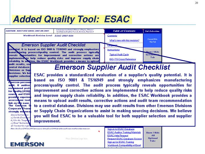 Added Quality Tool:  ESAC
