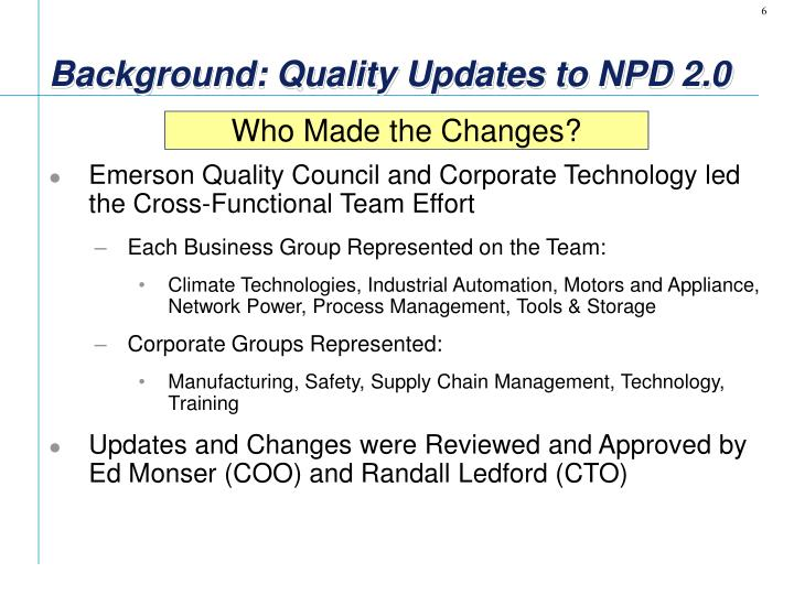 Background: Quality Updates to NPD 2.0