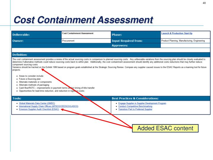 Cost Containment Assessment