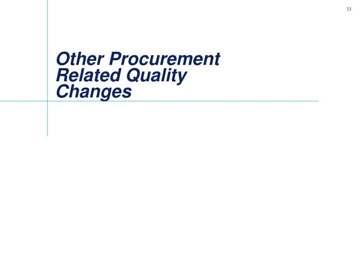 Other Procurement Related Quality Changes