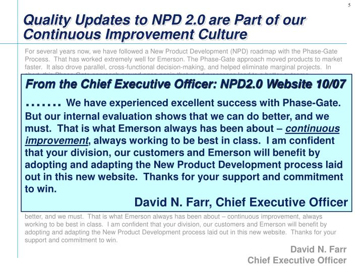 Quality Updates to NPD 2.0 are Part of our Continuous Improvement Culture