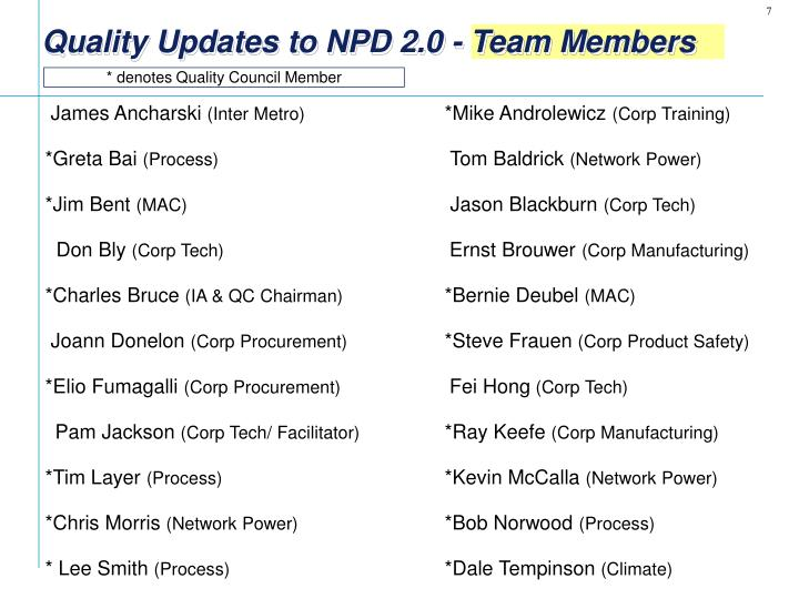 Quality Updates to NPD 2.0 - Team Members