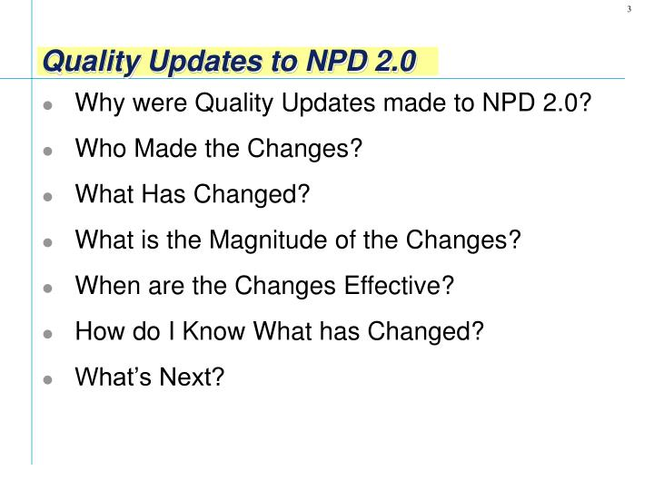 Quality updates to npd 2 01