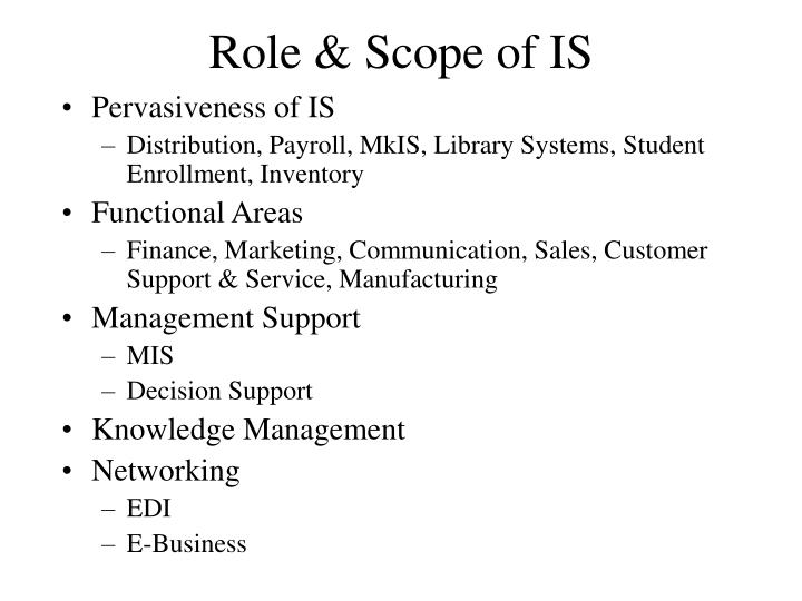 Role & Scope of IS