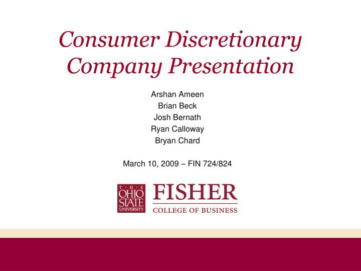 consumer discretionary company presentation n.