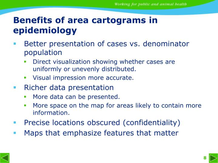 Benefits of area cartograms in epidemiology