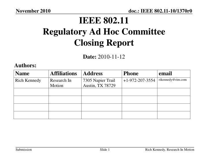 ieee 802 11 regulatory ad hoc committee closing report n.