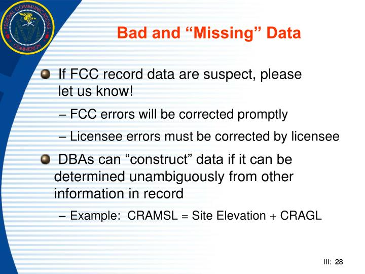 """Bad and """"Missing"""" Data"""