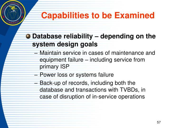 Capabilities to be Examined