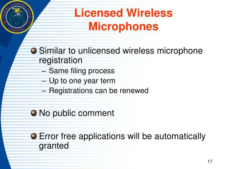 Licensed Wireless Microphones